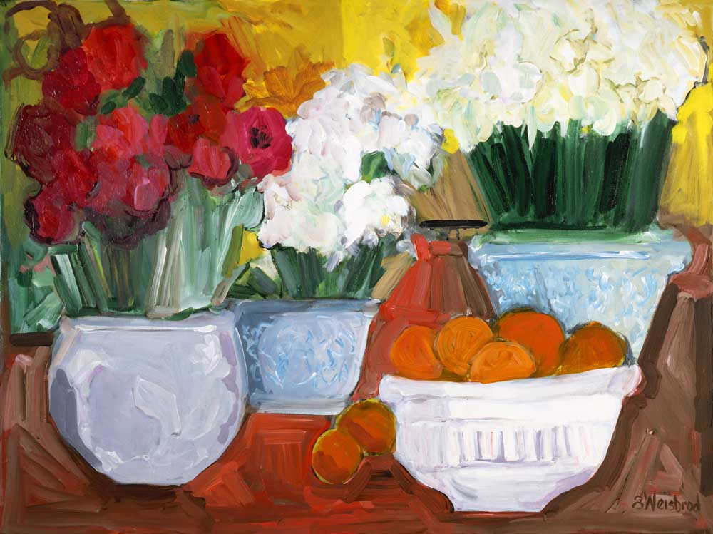 Flowers and a Bowl of Oranges30x40 acrylic on canvas