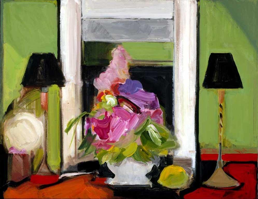Flowers and a Lemon 24x30 acrylic on canvas