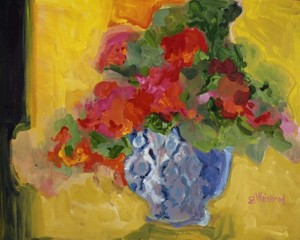 Flowers in a Blue and White Vase 24X30 acrylic on canvas