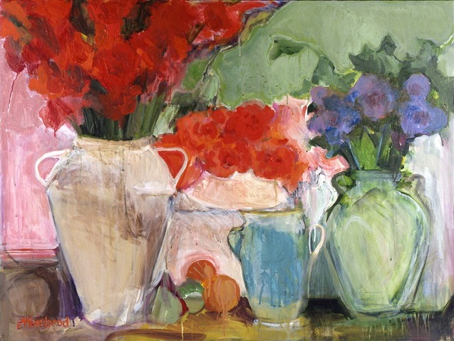 Jars of Flowers 30x40 acrylic on canvas