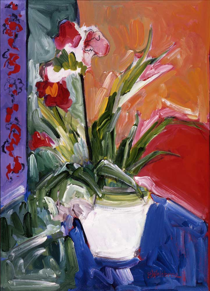 Lavender and Red Curtain 24x30 acrylic on canvas