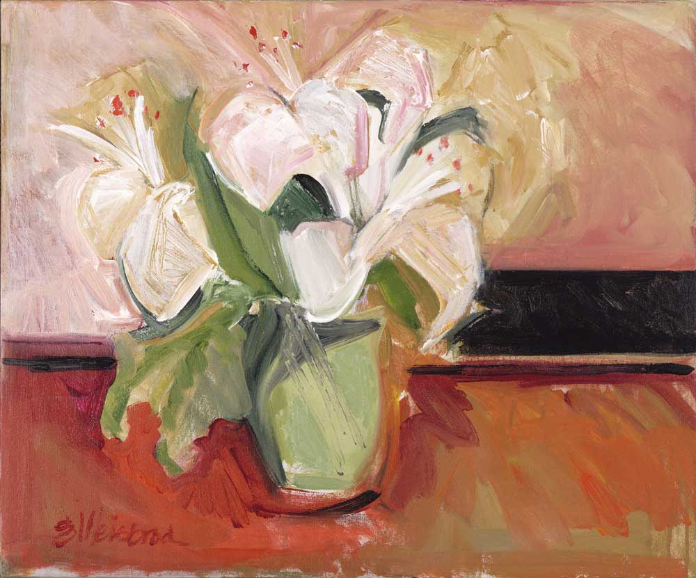 Lilies in a Green Vase 20x24 acrylic on canvas