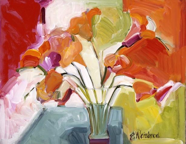 Orange Lilies 24X30 acrylic on canvas