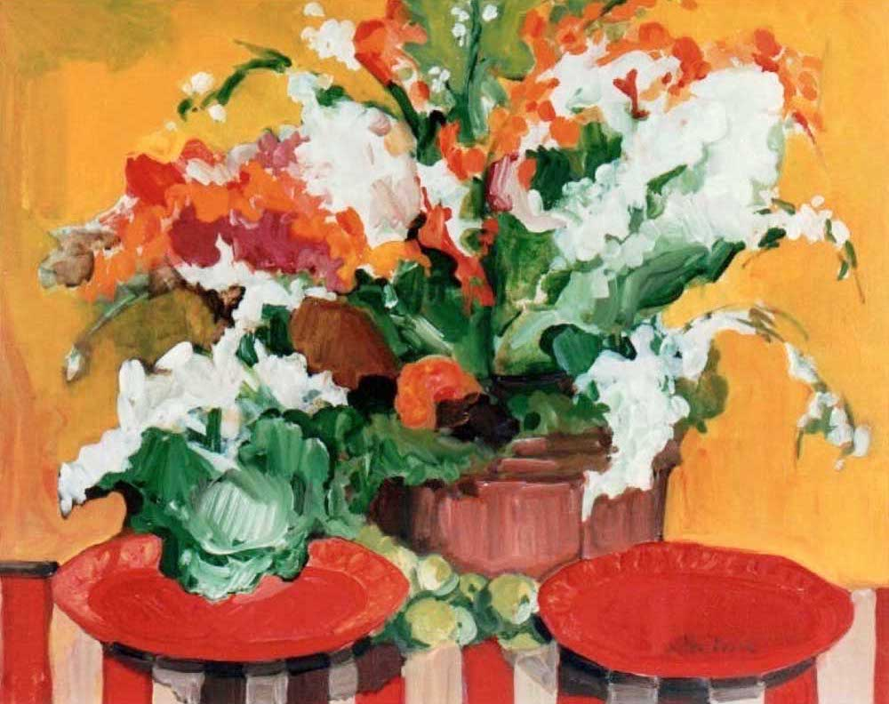 Orchids & Red Plates 24x30 acrylic on canvas
