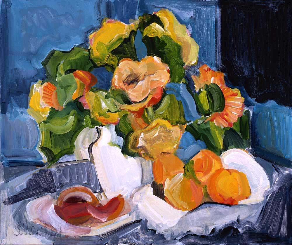 Peaches and Porcelain 20x24 acrylic on canvas