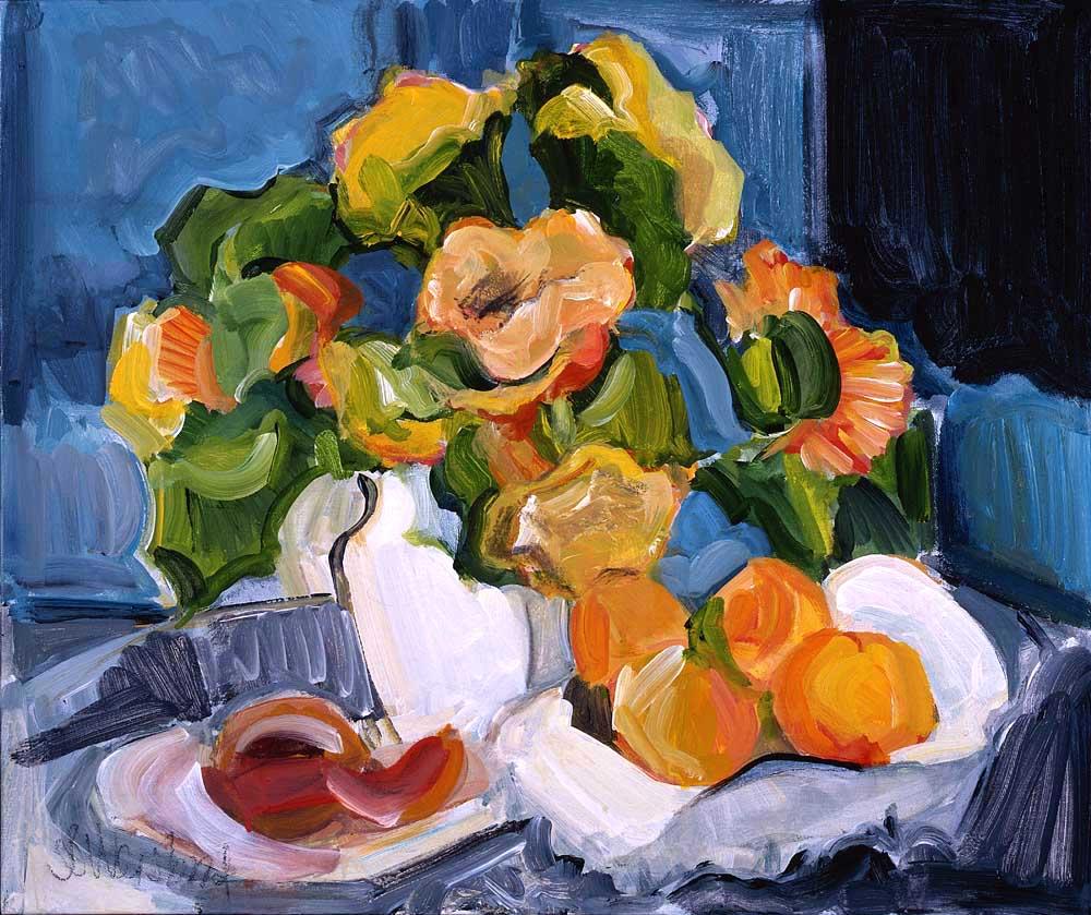 Peaches and Porcelain 20x24 acrylic on canvas