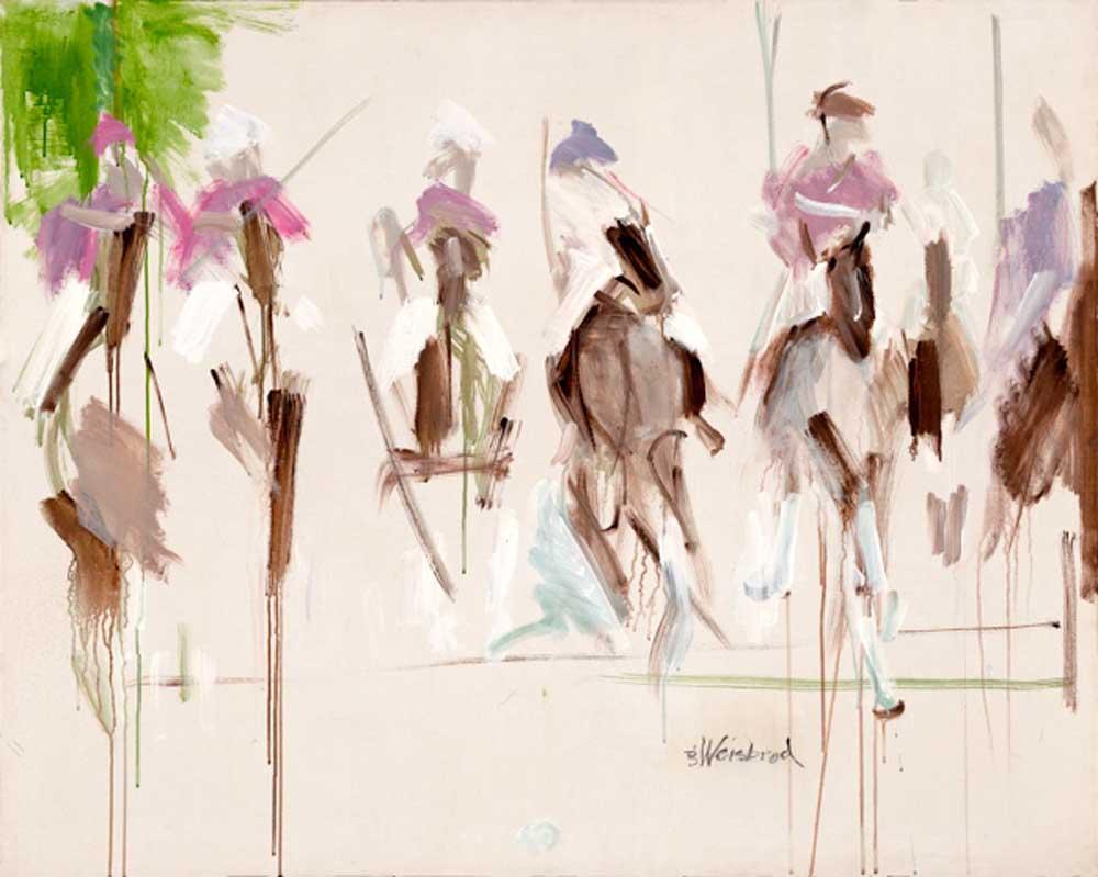 Polo in the Mist 48x60 acrylic on canvas