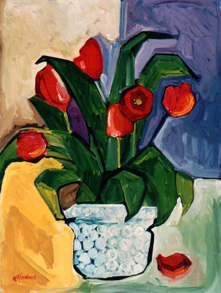 Red Tulips 30X40 acrylic on canvas