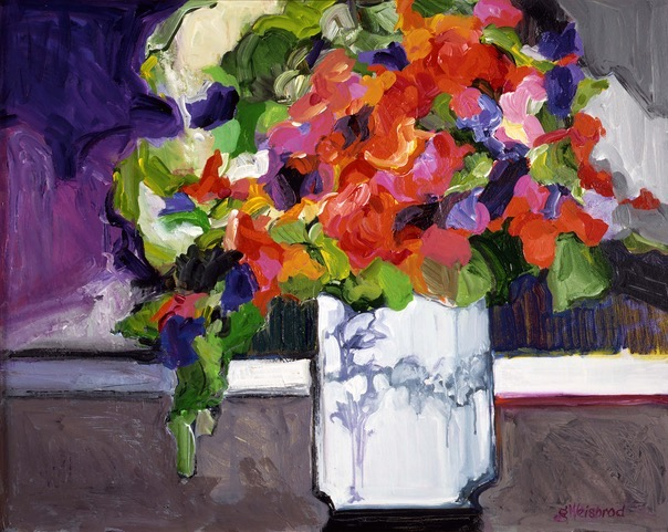 Sweetpeas 24x30 acrylic on canvas