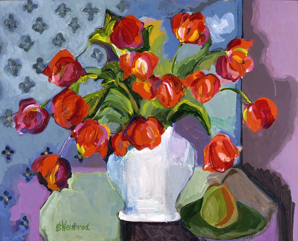 Tulips and a Pear 24x30 acrylic on canvas