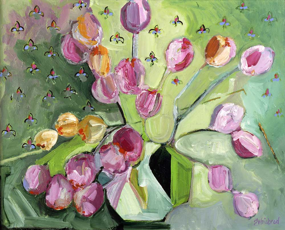 Tulips and Fleur de Lis 24x30 acrylic on canvas