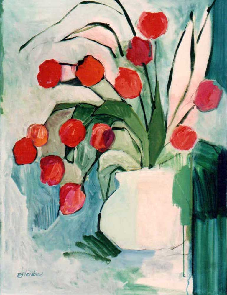 Tulips in a White Container 30X40 acrylic on canvas