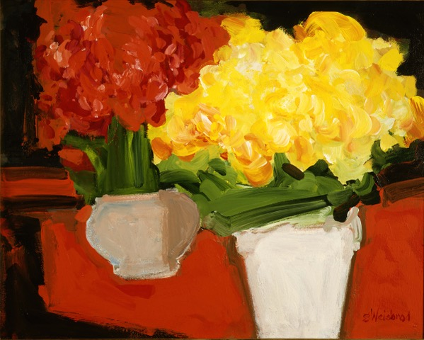 Two Pots of Flowers 30X40 Acrylic on Canvas